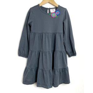 HANNA ANDERSSON Gray Crochet Flower LS Dress 5-6